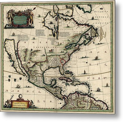 Antique Map Of North America By Jan Jansson - Circa 1652 Metal Print by Blue Monocle