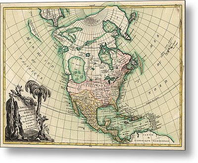 Antique Map Of North America By Jean Janvier - 1762 Metal Print by Blue Monocle