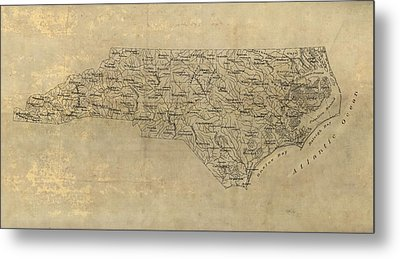 Metal Print featuring the drawing Antique Map Of North Carolina - 1893 by Blue Monocle