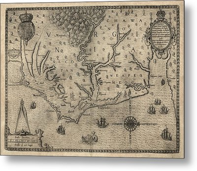 Antique Map Of North Carolina And Virginia By John White - 1590 Metal Print by Blue Monocle