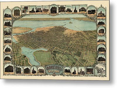 Antique Map Of Oakland California By Fred Soderberg - 1900 Metal Print by Blue Monocle