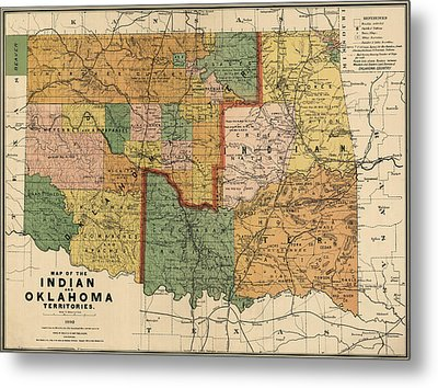 Antique Map Of Oklahoma By Rand Mcnally And Company - 1892 Metal Print by Blue Monocle