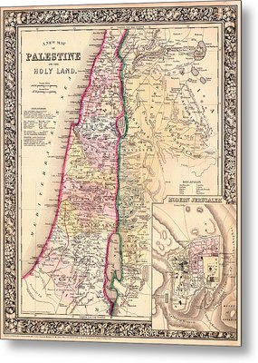 Antique Map Of Palestine Or Holy Land 1864 Metal Print