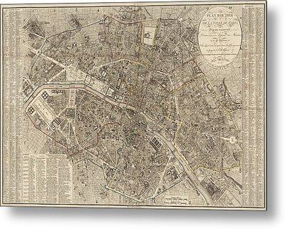 Antique Map Of Paris France By Ledoyen - 1823 Metal Print by Blue Monocle