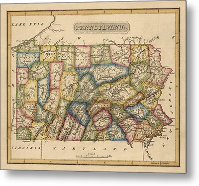Antique Map Of Pennsylvania By Fielding Lucas - Circa 1817 Metal Print by Blue Monocle