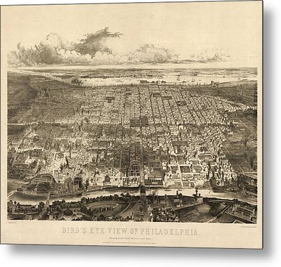 Antique Map Of Philadelphia By John Bachmann - 1857 Metal Print by Blue Monocle