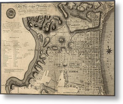 Antique Map Of Philadelphia By John Hills - 1797 Metal Print by Blue Monocle