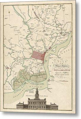 Antique Map Of Philadelphia By Matthaus Albrecht Lotter - 1777 Metal Print
