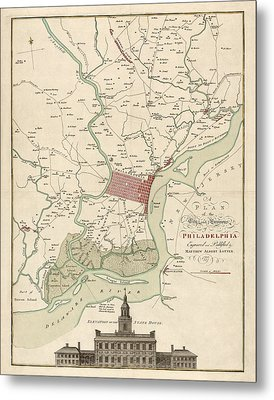 Antique Map Of Philadelphia By Matthaus Albrecht Lotter - 1777 Metal Print by Blue Monocle