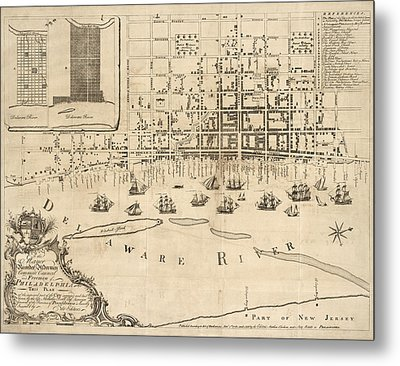 Antique Map Of Philadelphia By Nicholas Scull - 1762 Metal Print by Blue Monocle