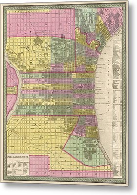 Antique Map Of Philadelphia By Samuel Augustus Mitchell - 1849 Metal Print by Blue Monocle