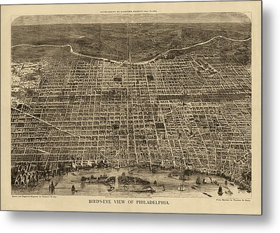 Antique Map Of Philadelphia By Theodore R. Davis - 1872 Metal Print by Blue Monocle