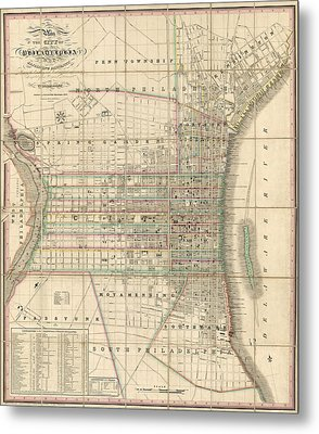 Metal Print featuring the drawing Antique Map Of Philadelphia By William Allen - 1830 by Blue Monocle