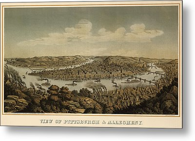 Antique Map Of Pittsburgh Pennsylvania By Otto Krebs - 1874 Metal Print by Blue Monocle
