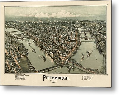 Antique Map Of Pittsburgh Pennsylvania By T. M. Fowler - 1902 Metal Print by Blue Monocle