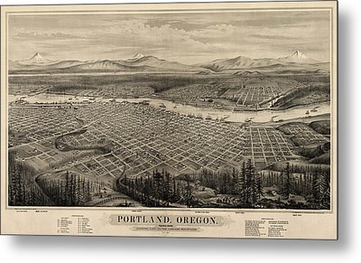 Antique Map Of Portland Oregon By E.s. Glover - 1879 Metal Print