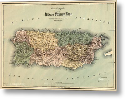 Antique Map Of Puerto Rico - 1886 Metal Print by Blue Monocle