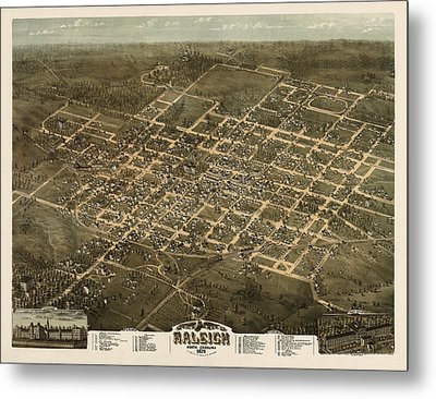 Antique Map Of Raleigh North Carolina By C. N. Drie - 1872 Metal Print by Blue Monocle
