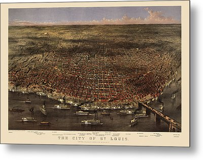 Antique Map Of Saint Louis By Currier And Ives - 1874 Metal Print by Blue Monocle