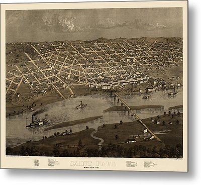 Antique Map Of Saint Paul Minnesota By A. Ruger - 1867 Metal Print by Blue Monocle