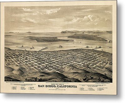 Antique Map Of San Diego California By E.s. Glover - 1876 Metal Print by Blue Monocle