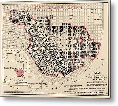 Antique Map Of San Francisco After The Earthquake By Punnett Brothers - 1908 Metal Print
