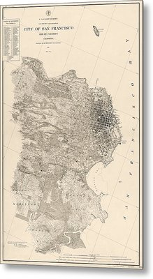 Antique Map Of San Francisco By A. F. Rodgers - 1857 Metal Print