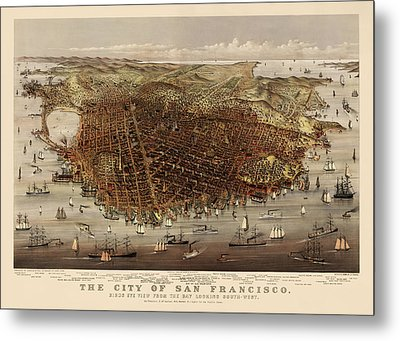 Antique Map Of San Francisco By Currier And Ives - Circa 1878 Metal Print