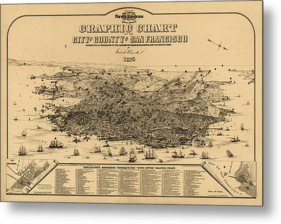 Antique Map Of San Francisco By Frederick Marriott - 1875 Metal Print