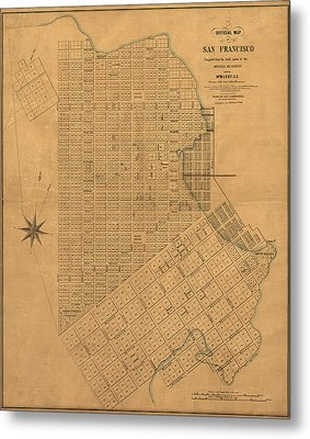 Antique Map Of San Francisco By William M. Eddy - 1849 Metal Print