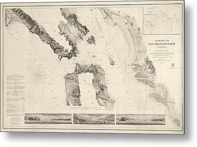 Antique Map Of San Francisco - Usgs Coast Survey Map - 1859 Metal Print by Blue Monocle