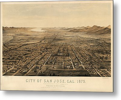 Antique Map Of San Jose California By Charles B. Gifford - 1875 Metal Print