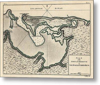 Antique Map Of San Juan Puerto Rico By Thomas Jefferys - 1768 Metal Print by Blue Monocle