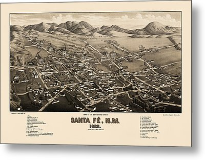 Antique Map Of Santa Fe New Mexico By H. Wellge - 1882 Metal Print
