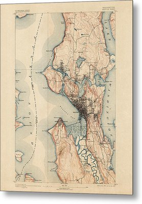 Antique Map Of Seattle - Usgs Topographic Map - 1894 Metal Print