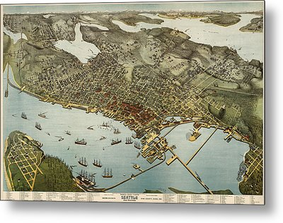 Antique Map Of Seattle Washington By Augustus Koch - 1891 Metal Print
