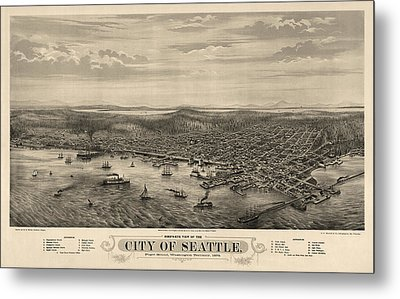 Antique Map Of Seattle Washington By E.s. Glover - 1878 Metal Print