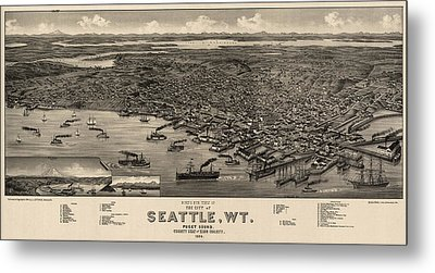 Antique Map Of Seattle Washington By H. Wellge - 1884 Metal Print