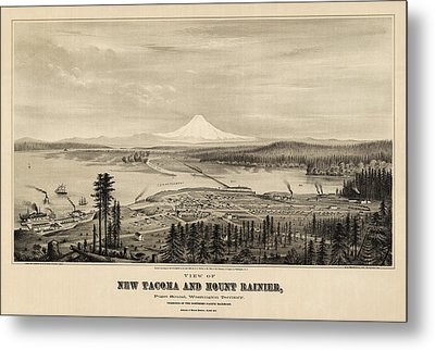 Antique Map Of Tacoma Washington By E.s. Glover - 1878 Metal Print