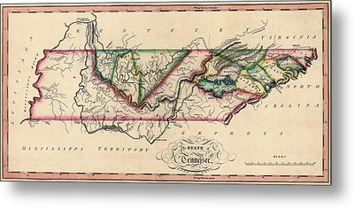 Antique Map Of Tennessee By Samuel Lewis - Circa 1810 Metal Print by Blue Monocle