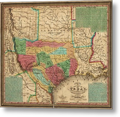 Antique Map Of Texas By James Hamilton Young - 1835 Metal Print by Blue Monocle