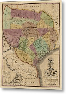 Antique Map Of Texas By Stephen F. Austin - 1837 Metal Print