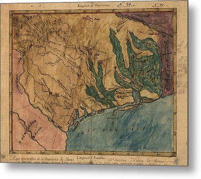 Antique Map Of Texas By Stephen F. Austin - Circa 1822 Metal Print