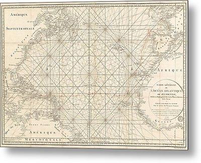 Antique Map Of The Atlantic Ocean - 1792 Metal Print