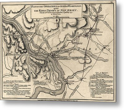 Antique Map Of The Battle Of Trenton By William Faden - 1777 Metal Print by Blue Monocle