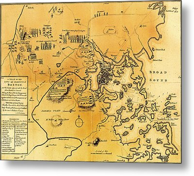 Antique Map Of The Battles Of Lexington And Concord 1775 Metal Print