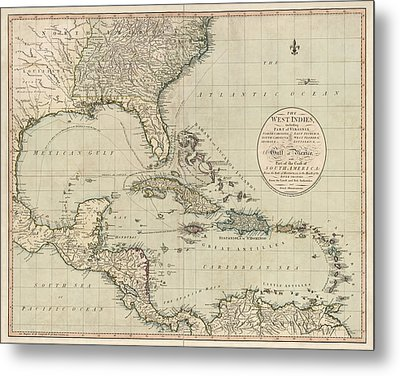 Antique Map Of The Caribbean And Central America By John Cary - 1783 Metal Print