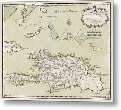 Antique Map Of The Dominican Republic And Haiti By Jacques Nicolas Bellin - 1745 Metal Print