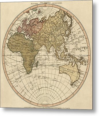 Antique Map Of The Eastern Hemisphere By William Faden - 1786 Metal Print by Blue Monocle