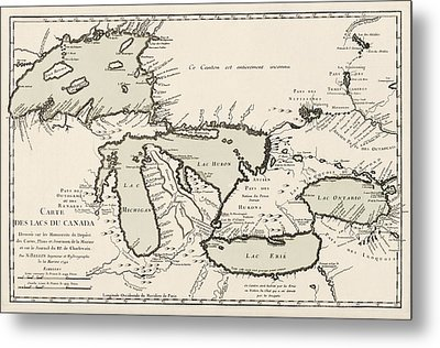 Antique Map Of The Great Lakes By Jacques Nicolas Bellin - 1742 Metal Print by Blue Monocle